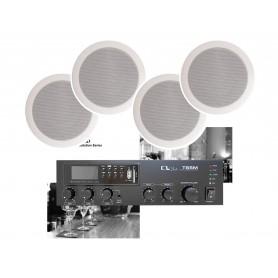 Impianto di filodiffusione - Amplificatore con Radio/USB Bluetooth e 4 diffusori coassiali da incasso