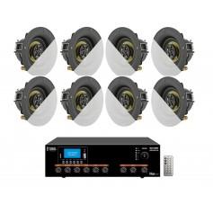 Impianto filodiffusione Amplificatore integrato e 8 mini diffusori 2 vie da incasso senza cornice