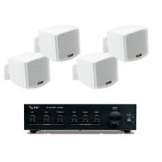 Sistema in kit per filodiffusione composto da Amplificatore e 4 mini diffusori bianchi da parete