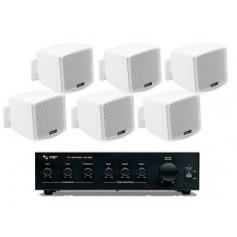Sistema in kit per filodiffusione composto da Amplificatore e 6 mini diffusori bianchi da parete