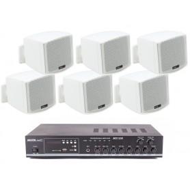 Sistema in kit per filodiffusione composto da Amplificatore con USB e 6 mini diffusori bianchi da parete