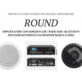 Impianto filodiffusione ROUND personalizzabile 4/6/8/10 diffusori con finitura biancha o nera