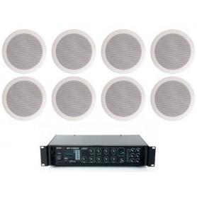 Sistema di filodiffusione con amplificatore PA MULTIZONA con sorgenti RADIO/USB e 8 Diffusori circolari per cartongesso
