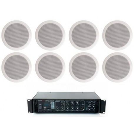 Sistema di filodiffusione con amplificatore PA MULTIZONA con sorgenti RADIO/USB e 8 Diffusori circolari 6W - 100V