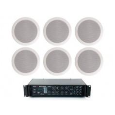 Sistema di filodiffusione con amplificatore PA MULTIZONA con sorgenti RADIO/USB e 6 Diffusori circolari 6W - 100V