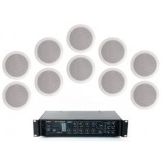 Sistema di filodiffusione con amplificatore PA MULTIZONA con sorgenti RADIO/USB e 10 Diffusori circolari 6W - 100V