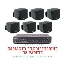 Impianto diffusione sonora con Amplificatore integrato Radio/USB + 6/8/10 mini diffusori da muro neri