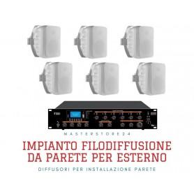 Impianto audio per esterno amplificatore e diffusori IP65 da parete
