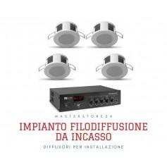Impianto filodiffusione 4/6 mini diffusori incasso e Amplificatore con sorgenti