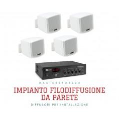 Sistema in kit per diffusione sonora Amplificatore PA con ingrasso AUX e Microfonico + 4 mini diffusori da muro bianchi