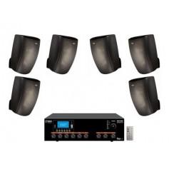 Sistema di filodiffusione in kit - Amplificatore con RADIO/USB + 6 Diffusori Neri da Muro