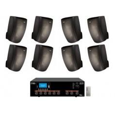 Sistema di filodiffusione in kit - Amplificatore con RADIO/USB + 8 Diffusori Neri da Muro