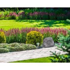 Impianto filodiffusione per giardino con amplificatore integrato e 2 rocce acustiche