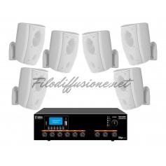Sistema di filodiffusione in kit - Amplificatore con RADIO/USB + 6 Diffusori Bianchi da Muro