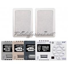 Sistema per diffusione sonora con amplificatore Giove FREE e due diffusori GIADA10 da incasso 2 vie