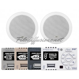 Sistema per diffusione sonora con amplificatore Giove FREE.BT e due diffusori ROUND13L da incasso 2 vie