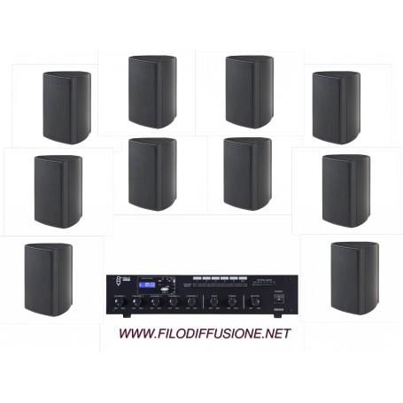 Sistema per filodiffusione composto da Amplificatore con sorgenti e 10 diffusori neri da parete