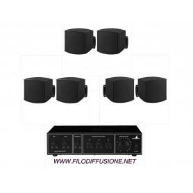 Sistema in kit per filodiffusione composto da Amplificatore e 6 mini diffusori neri da parete