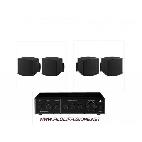 Sistema in kit per filodiffusione composto da Amplificatore e 4 mini diffusori neri da parete