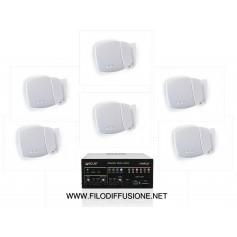 Sistema audio in kit per filodiffusione MONOZONA - Amplificatore e 6 diffusori da parete