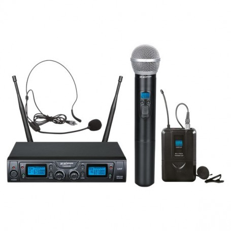 Set combinato doppio radiomicrofono UHF 16 canali. 1 trasmettitore a gelato e 1 bodypack.
