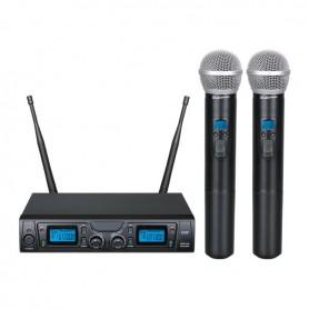 Doppio Radiomicrofono UHF 16 canali con trasmettitore a gelato palmare.