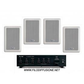 Sistema per la diffusione sonora con Amplificatore PA e 4 diffusori rettangolari da incasso