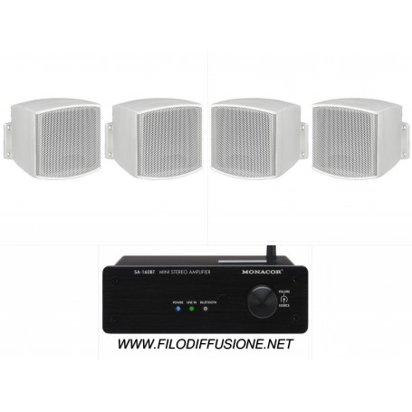 Sistema in kit per filodiffusione composto da Amplificatore con BLUETOOTH e 4 mini diffusori bianchi da parete