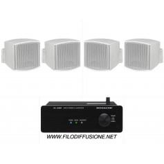Sistema in kit per filodiffusione composto da Amplificatore con BLUETOOTH e 4 mini diffusori bianchi da parete