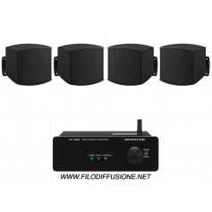 Sistema in kit per filodiffusione composto da Amplificatore con BLUETOOTH e 4 mini diffusori neri da parete