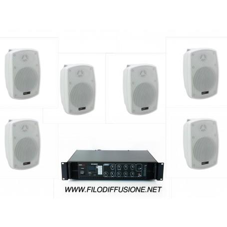 Sistema per la diffusione sonora all'aperto con amplificatore PA multizona con sorgenti integrate e 4 diffusori da parete