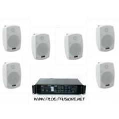 Sistema per la diffusione sonora all'aperto con amplificatore PA con sorgenti integrate e 6 diffusori da parete