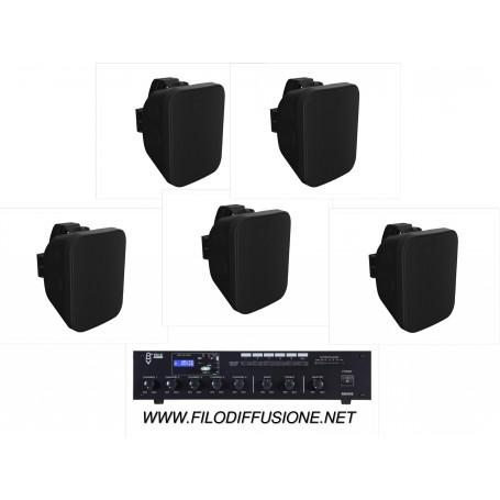 Kit per la diffusione sonora all'aperto con amplificatore PA con sorgenti integrate e 5 diffusori da parete