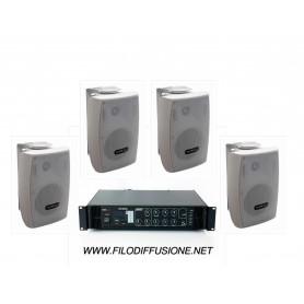 Impianto di filodiffusione MONOZONA Amplificatore con RADIO USB/SD Card e 4 Diffusori con staffa da muro di colore bianco