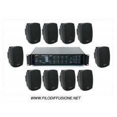 Sistema in kit per la diffusione sonora all'aperto con amplificatore PA multizona con sorgenti integrate e 10 diffusori da muro