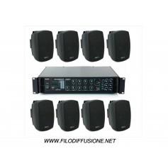 Sistema in kit per la diffusione sonora all'aperto con amplificatore PA multizona con sorgenti integrate e 8 diffusori da muro