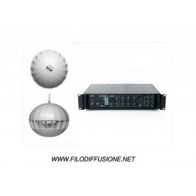 Impianto audio per la diffusione sonora con diffusori 360° a sospensione