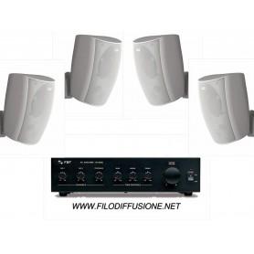 Impianto di filodiffusione FBT in kit - Amplificatore PA e 4 Diffusori bianchi da parete