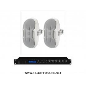 Impianto Filodiffusione composto da Amplificatore con sorgenti e coppia diffusori alta efficienza da parete