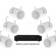 Impianto diffusione sonora per spazi aperti con amplificatore e 6 proiettori sonori