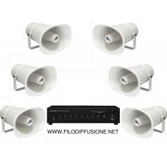 Impianto diffusione sonora per spazi aperti con amplificatore e 6 trombe megafono