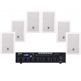 Impianto audio di filodiffusione con diffusori rettangolari per appartamento, ufficio, attività commerciele