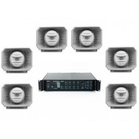 Impianto audio di filodiffusione per musica e parola con trombe musicali spazi aperti.