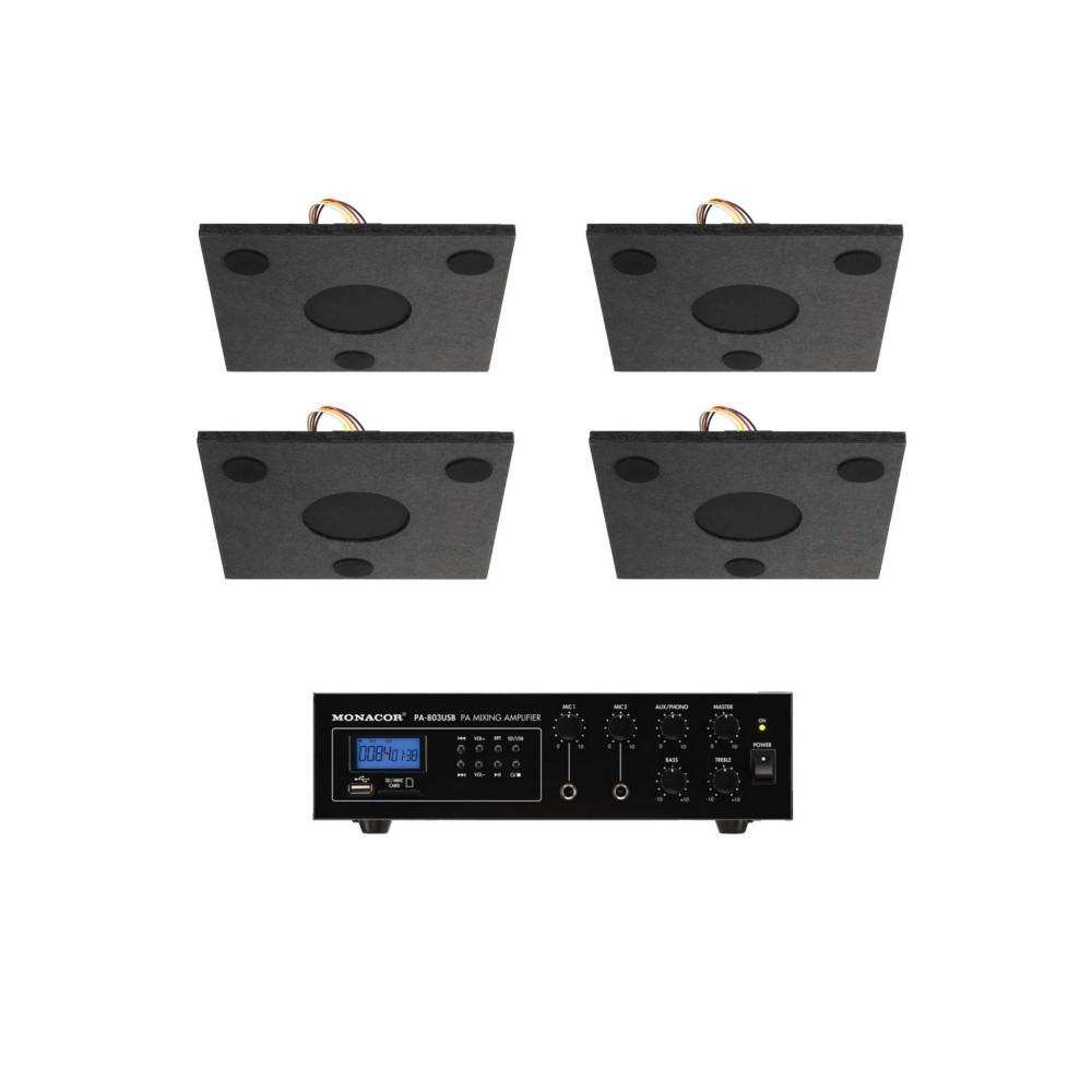 Impianto per diffusione sonora invisibile sospeso o da appoggi su cartongesso