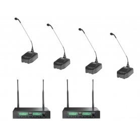 Sistema microfonico wireless senza filo per conferenze: due ricevitori doppia frequenza e quattro microfoni da tavolo