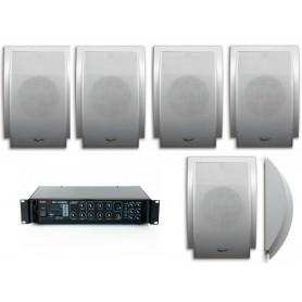Impianto filodiffusione con 6 diffusori a mezza luna da superficie e amplificatore MULTIZONA PA con sorgenti RADIO/USB AUX