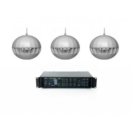 Impianto audio per filodiffusione sonora con 3 diffusori a sospensione a Amplificatore MULTIZONA con sorgenti